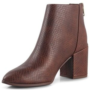 Brown Snake Leather Pointy Toe Ankle Booties